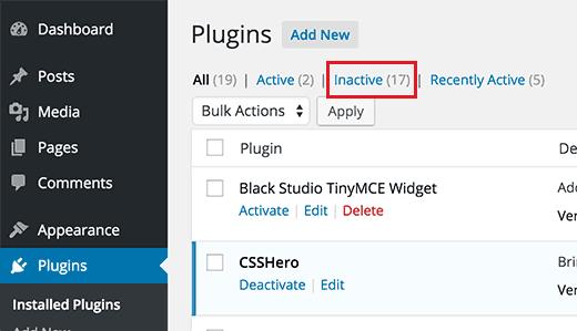 Inactive Plugin