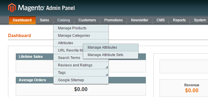 Manage attributes in magento