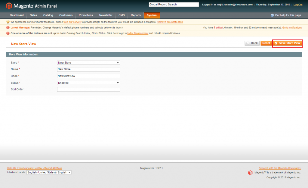 Magento: Save Store View