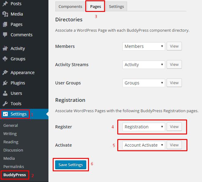 BuddyPress installation wordpress