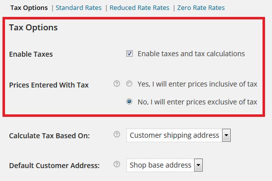Tax Settings WooCommerce