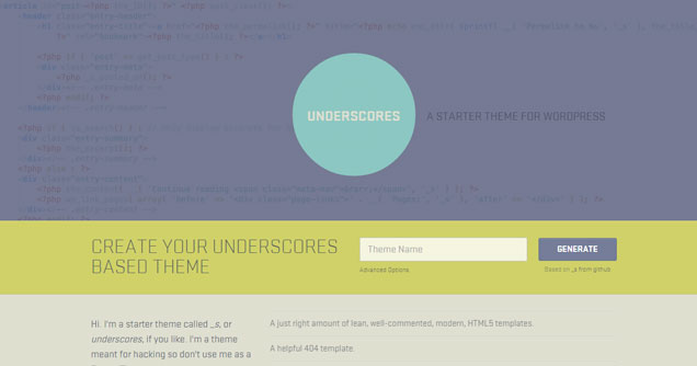 underscores wordpress framework