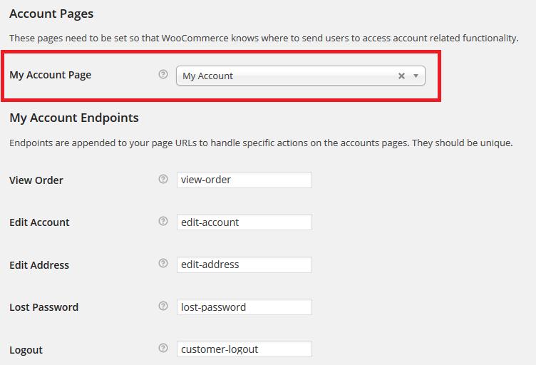 Account settings WooCommerce
