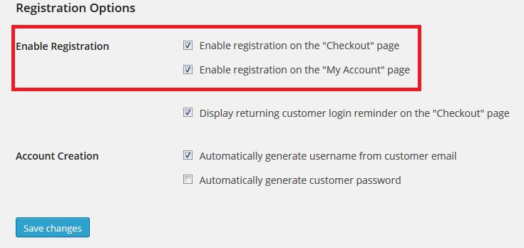 Registration Options WooCommerce