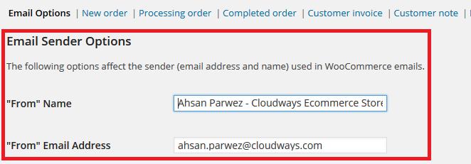 Email Options WooCommerce