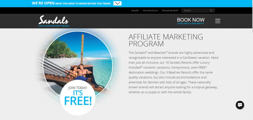 Sandals Resort affiliate marketing program