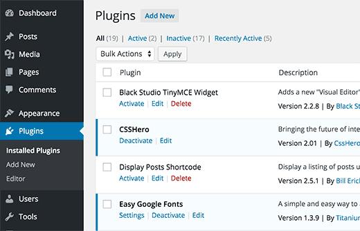 Select Particular Plugin