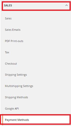 Magento Sales menu