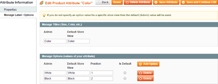 Edit product attribute color