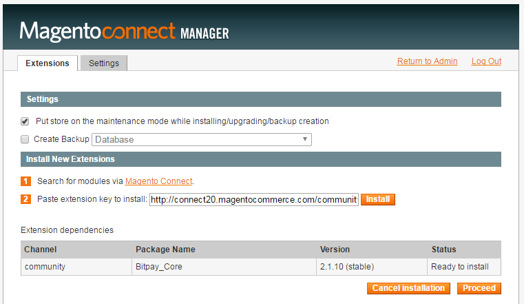 Install Magento Connect Manager