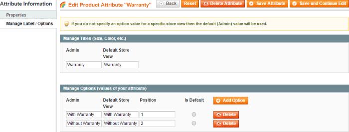 Edit product attribute warranty