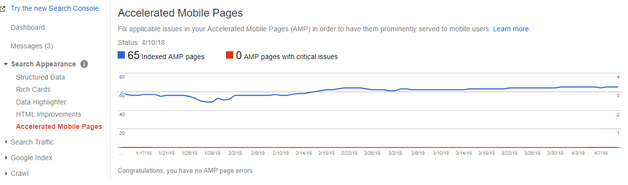 Accelerated Mobile Pages section in webmaster tools