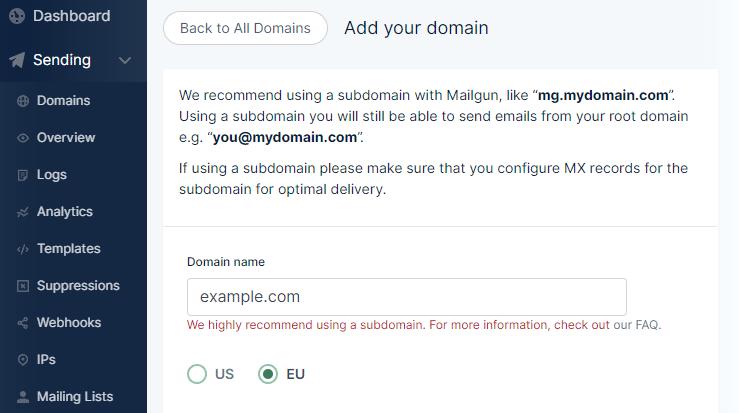 Add Domain Mailgun