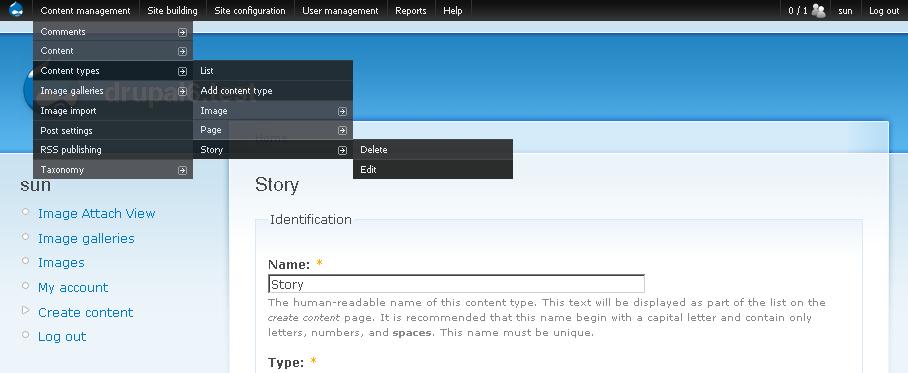 Administration menu module