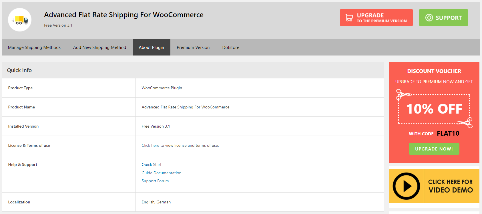 Advanced Flat Rate Shipping Method WooCommerce