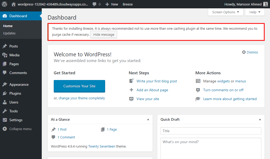 Amazon WordPress Hosting Dashboard