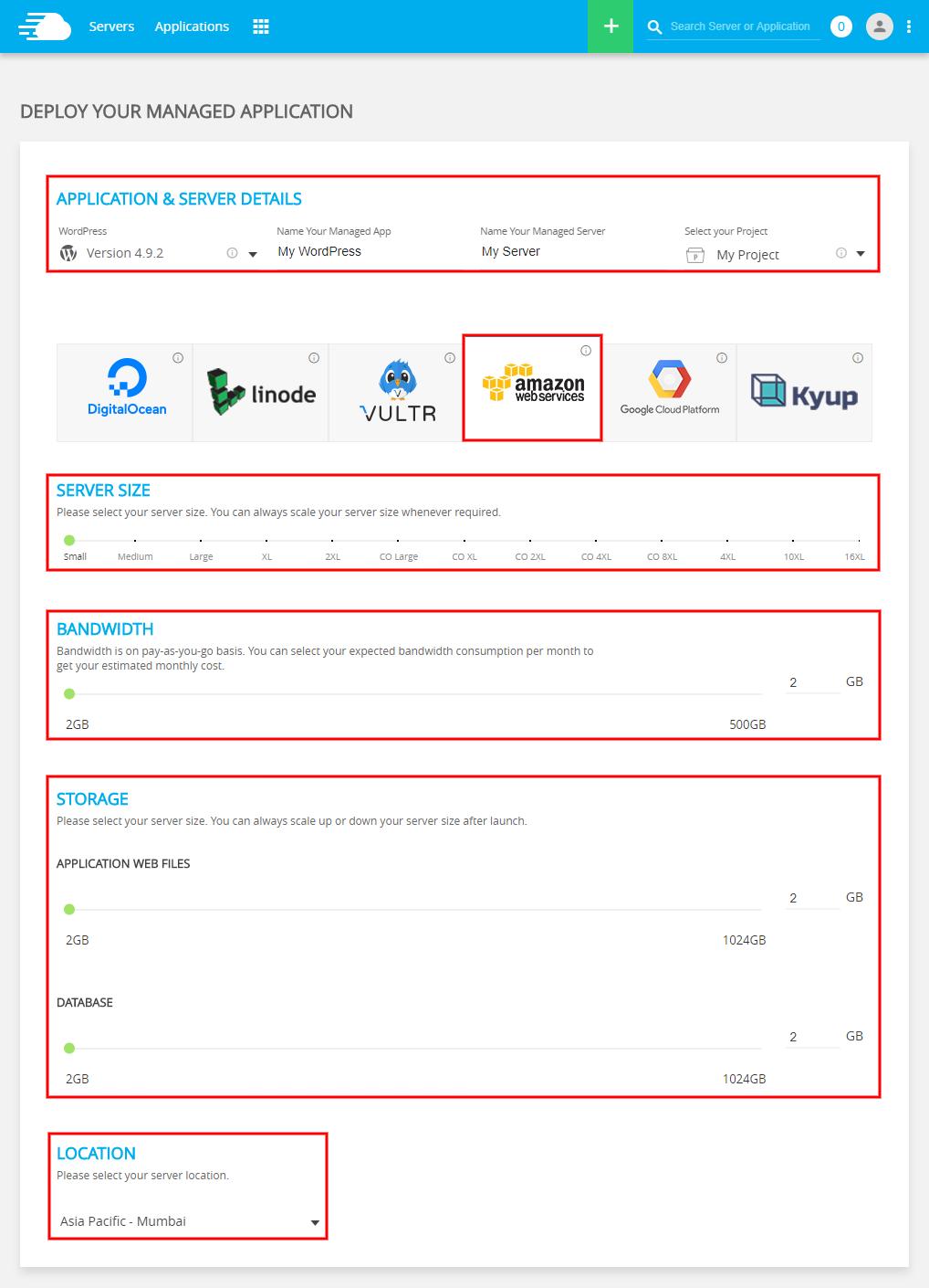 Amazon WordPress Hosting Server Details