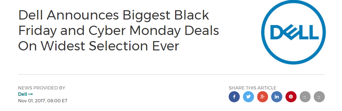 Announcement Blog for Black Friday deal by Dell