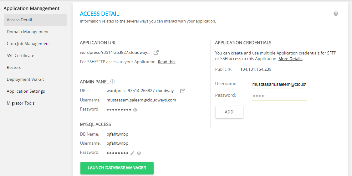 Application Details Cloudways
