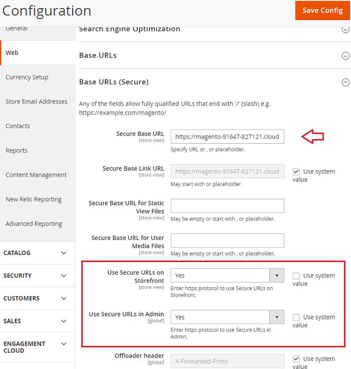 Base URLs secure section magento 2 ssl