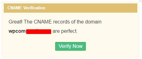 CNAME Verification Confirmation