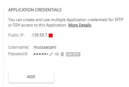 Cloudways Application Credentials