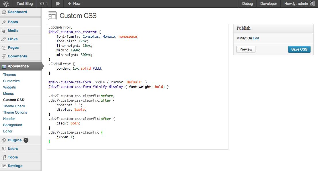 Custom Css plugin