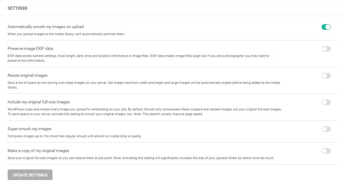WPMU Dev WP Smush Pro Optimizing Images Setting