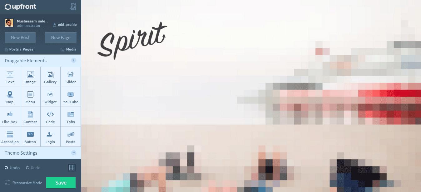 WPMU Dev Spirit Theme Editing using Upfront