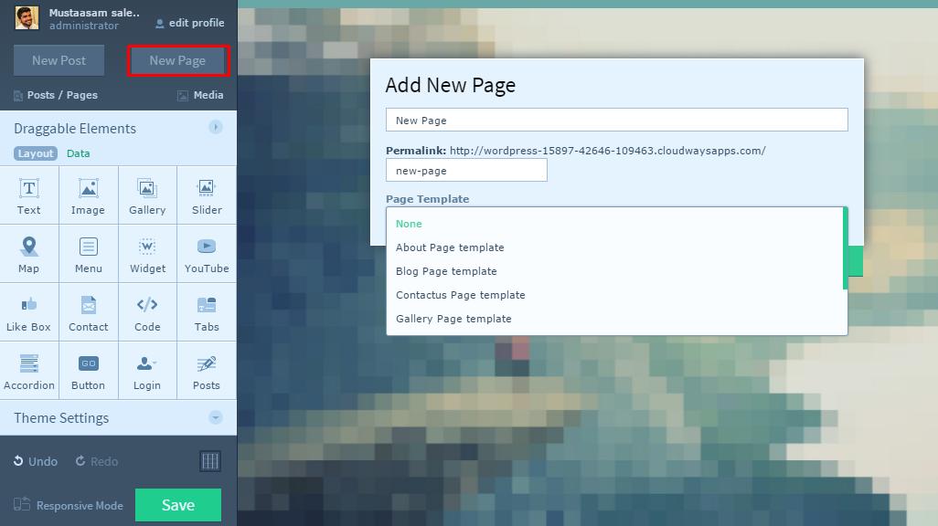 Add page using Upfront