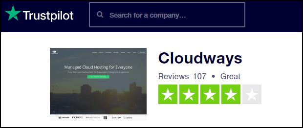 Cloudways on Trustpilot