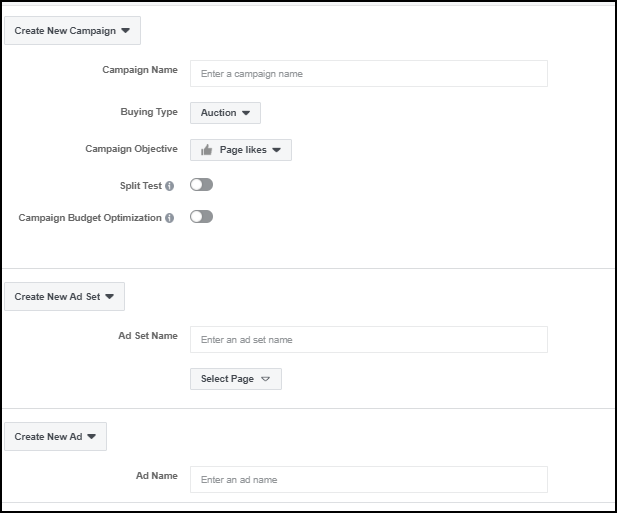 Creating Your First Facebook Ad setup