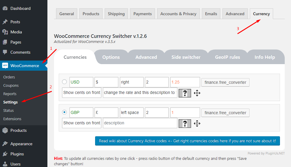 Currency Tab