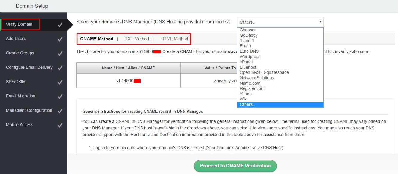 Domain Verification on Zoho Mail