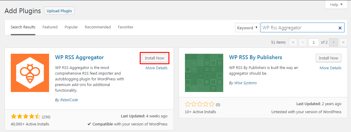 WP RSS Aggregator PLugin INstall