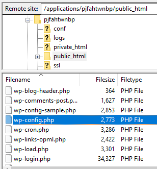 Edit wp-config file