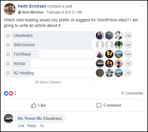 Facebook Poll for Best WordPress Ecommerce Hosting