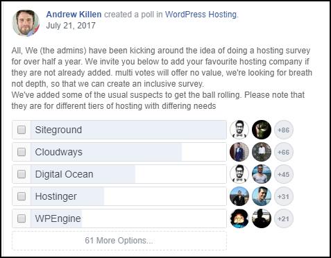 Facebook poll for best ecommerce web hosting provider