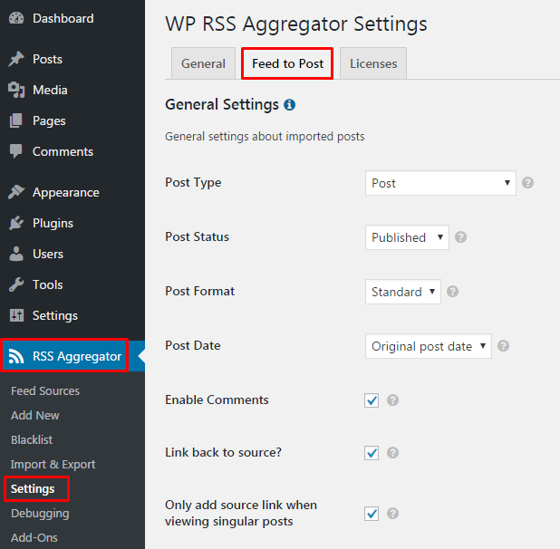 RSS Aggregator Settings