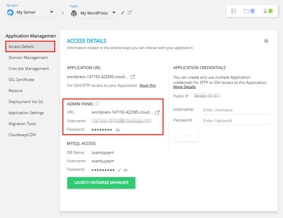 Host WordPress on DigitalOcean Access Details