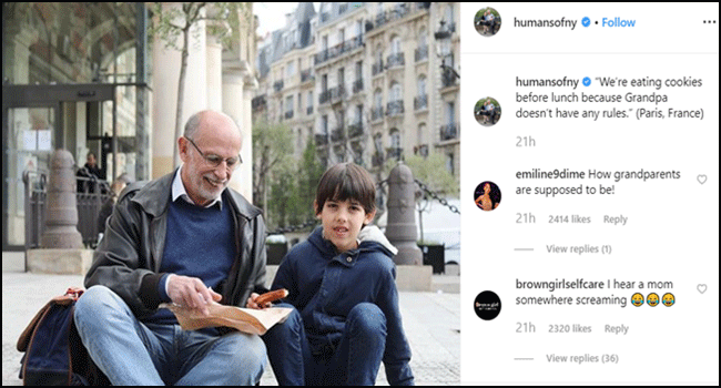 Human post example on Instagram