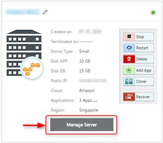 Cloudways Console Manage Server