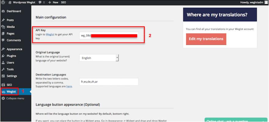 Configuring Weglot Translate