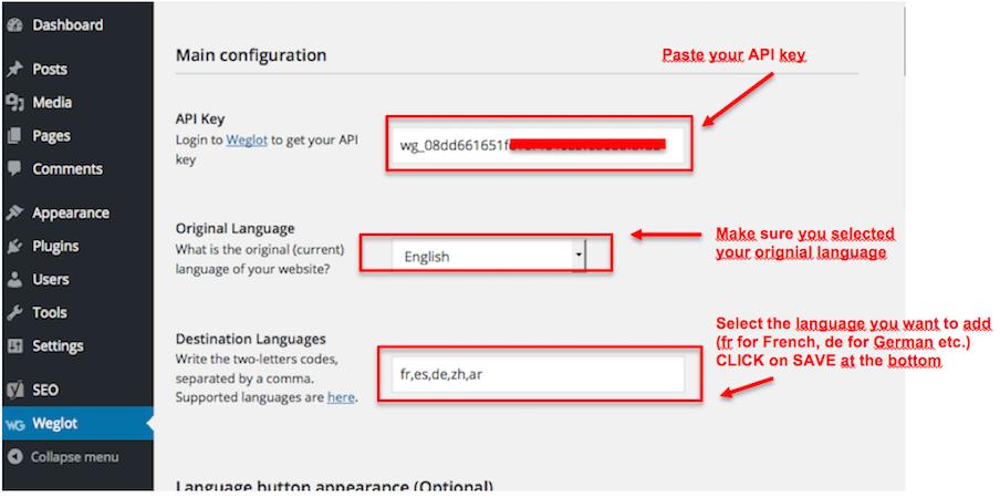 setting API key