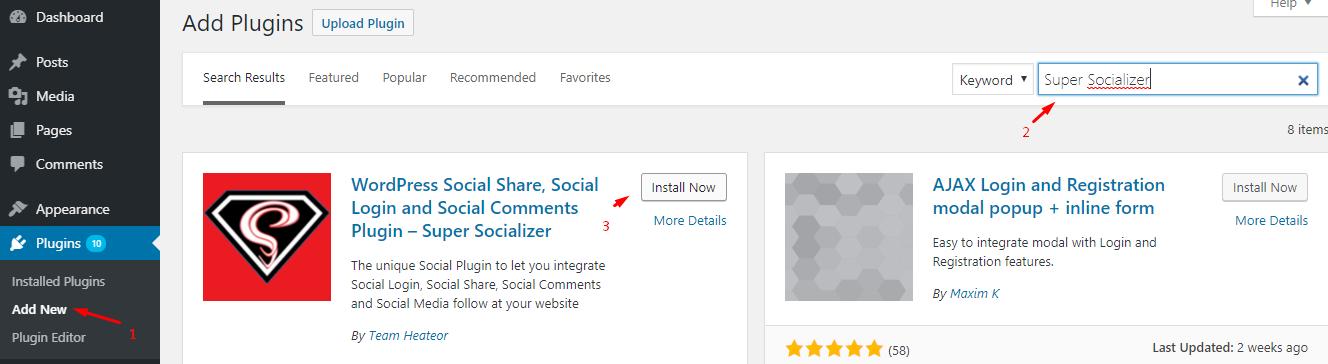 Install Super Socializer Plugin