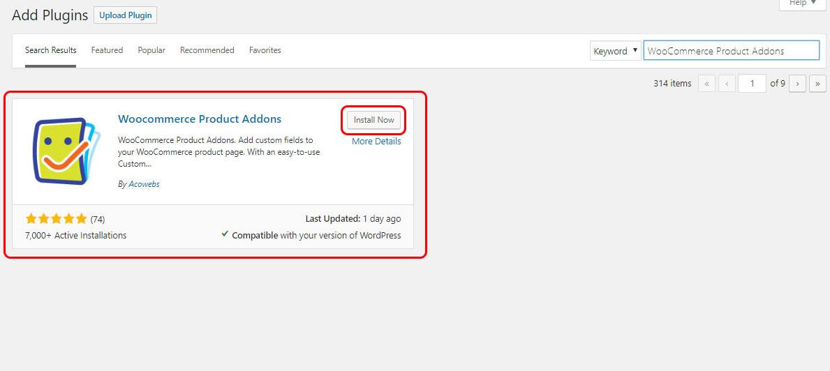 Install WooCommerce product addon