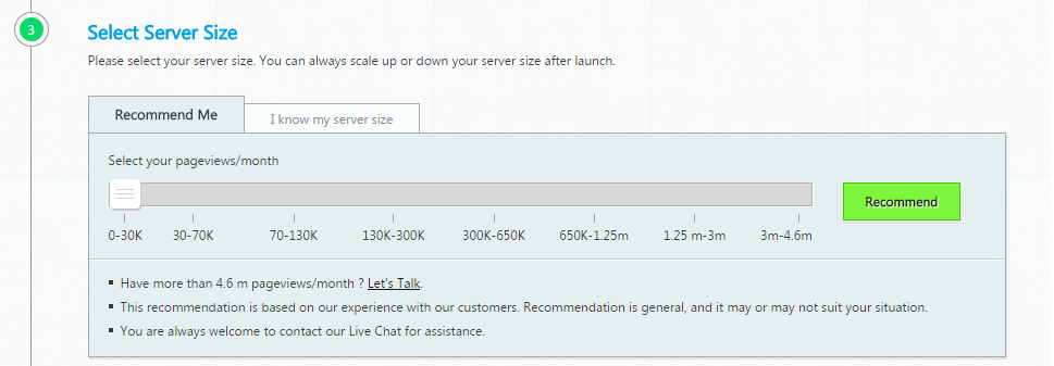 Recommended Server Size