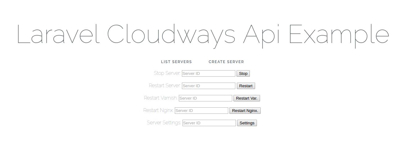 laravel-cloudways-api-example