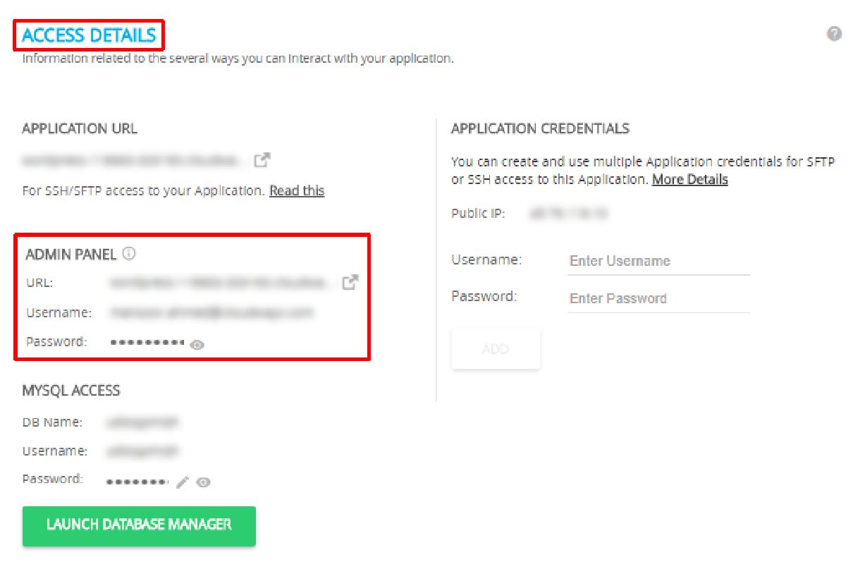 Linode on WordPress Access Details