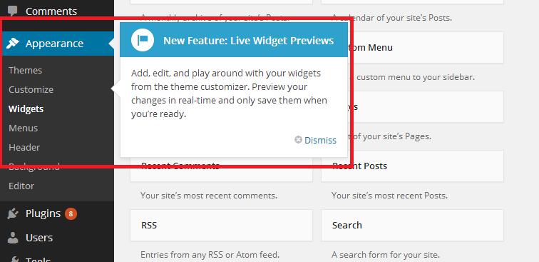 Widget Feature Notification